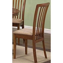 Cherry Oak Wood Slat-back Chairs (Set of 2)