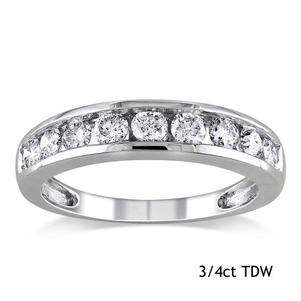 Miadora 14k White Gold Diamond Semi Eternity Wedding Band (G-H, I1-I2)