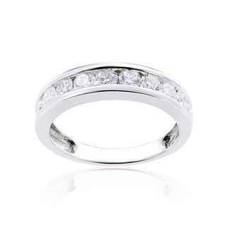 Miadora 14k White Gold Diamond Semi Eternity Wedding Band (G-H, I1-I2)