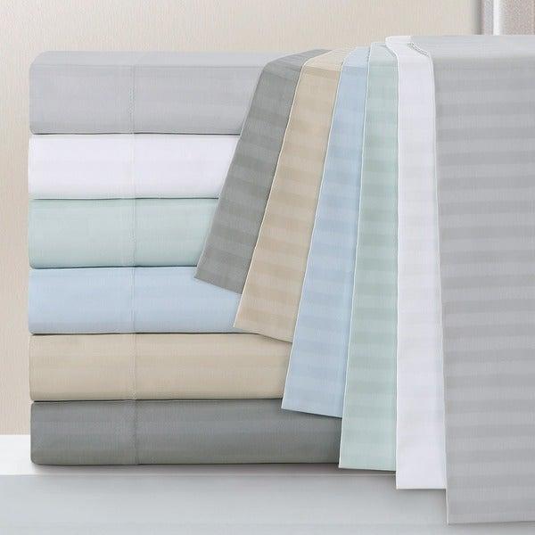 Echelon Home Egyptian Cotton 800 Thread Count Deep Pocket Stripe Sheet Set and Pillowcase Separates