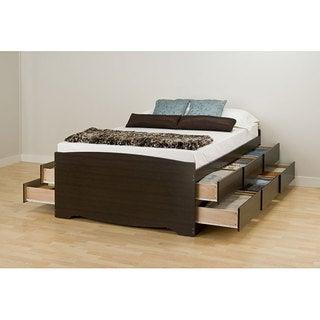 Espresso Tall Queen 12-drawer Captain's Platform Storage Bed