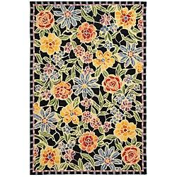 Safavieh Hand-hooked Mosaic Black Wool Rug (8'9 x 11'9)