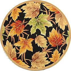 Safavieh Hand-hooked Foliage Black Wool Rug (5'6 Round)