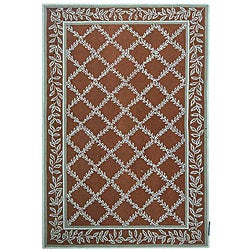 Safavieh Hand-hooked Trellis Brown/ Turquoise Blue Wool Rug (8'9 x 11'9)