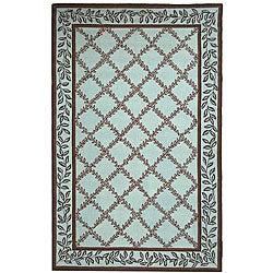 Safavieh Hand-hooked Trellis Turquoise Blue/ Brown Wool Rug (8'9 x 11'9)