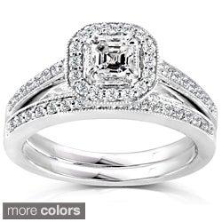 Annello 14k Gold 5/8ct TDW Asscher Diamond Bridal Halo Ring Set (H-I, SI1-SI2)