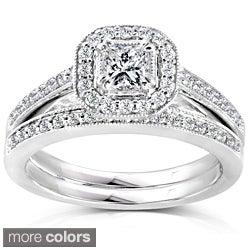 Annello 14k Gold 5/8ct TDW Princess Diamond Halo Bridal Ring Set