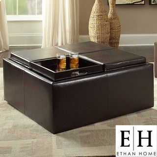ETHAN HOME Avenue Faux Leather Tray Top Storage Cocktail Ottoman