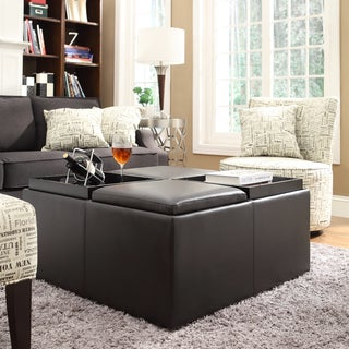 INSPIRE Q Montrose Faux Dark Brown Leather Multipurpose Storage Ottoman