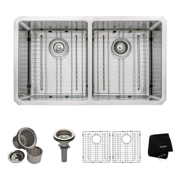 Kraus 33-inch Undermount Double Bowl Steel Kitchen Sink
