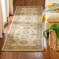 Handmade Heritage Kerman Ivory/ Brown Wool Runner (2&#39;3 x 8&#39;)