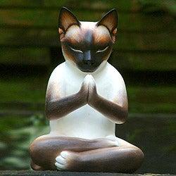 Wood 'Kitty Meditates' Statuette (Indonesia)