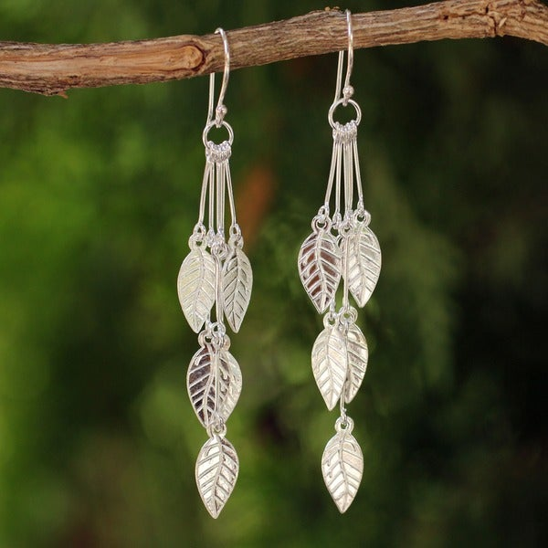 Sterling Silver 'Leaf Chimes' Earrings (Thailand)