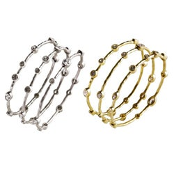 Nexte 14k Gold Overlay CZ Abstract Bangle Bracelets (Set of 3)