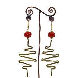 Brass Red Bead and Zig Zags #13 Earrings (Kenya)