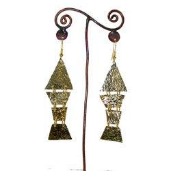 Brass Trapezoids #15 Earrings (Kenya)