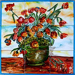 Borocco-style Floral Pot 9-tile Ceramic Wall Mural