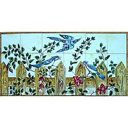 Floral Birds Garden View 18-tile Ceramic Mural