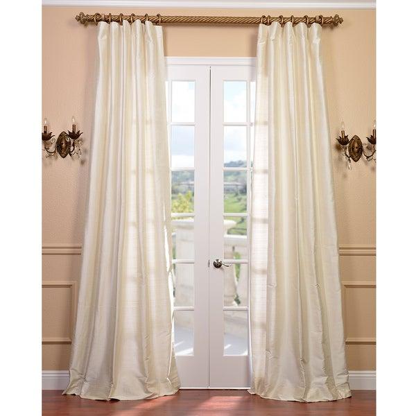 Signature Pearl White 108-inch Textured Silk Curtain