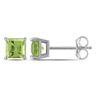 Miadora 14k White Gold Square Peridot Stud Earrings