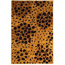Safavieh Handmade Leopard-print Gold/ Black N. Z. Wool Rug (3'6 x 5'6)