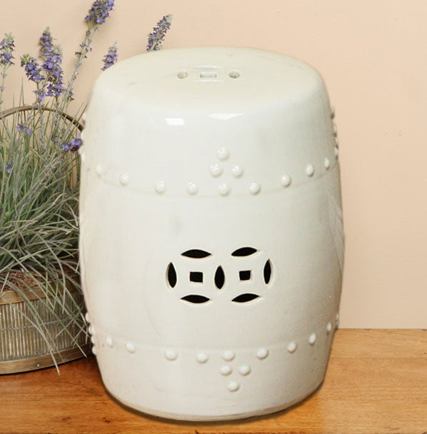 Handmade Off White Porcelain Garden Stool (China)