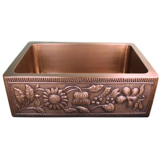 Copper Farmhouse Sunflowers 30-inch Sink