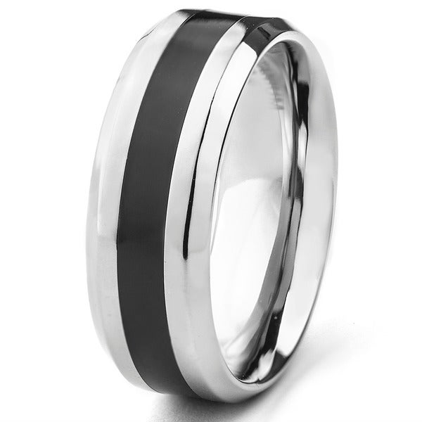 Men's Titanium Black Resin Inlay Ring (8 mm)