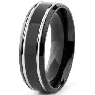 Men's Titanium Black Plated Grooved Ring (7 mm)
