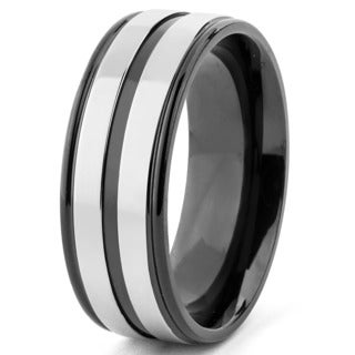 Men's Titanium Black Plated Grooved Ring