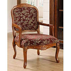 Curved Arm Merlot Floral Chair