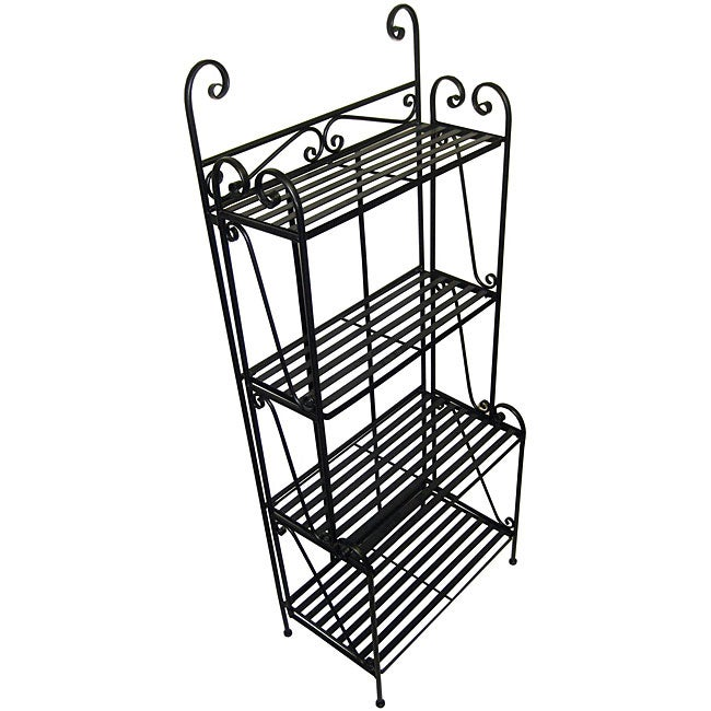 Folding Piper Black 4-shelf Baker's Rack