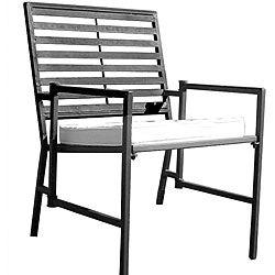Folding Slatted Black Iron Garden Chair