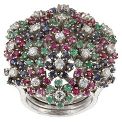 Pre-owned 18k Gold Gemstone and 1ct TDW Diamond Estate Ring (K, SI2) (Size 5.5)
