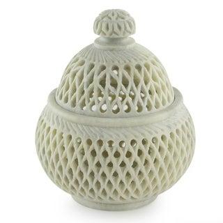 Soapstone 'Lattice Lace' Medium Jar (India)