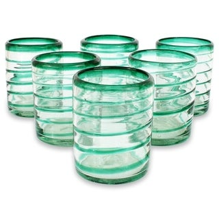 Set of Six Glass 'Emerald Spiral' Drinking Glasses (Mexico)