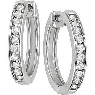 Miadora 14k White Gold 1/2ct TDW Diamond Hoop Earrings (H-I, I1-I2)