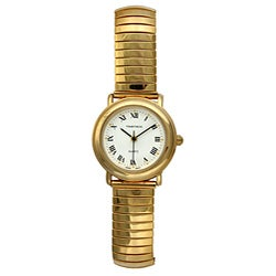 Timetech Women's White-Dial Goldtone Expansion Watch