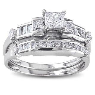 Miadora 14k White Gold 1ct TDW Diamond Bridal Ring Set (H-I, I1)
