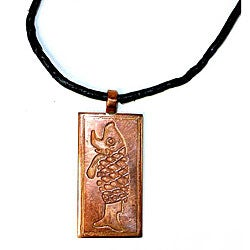 Copper Fish Pendant with Leather Necklace (Chile)