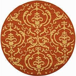 Safavieh Indoor/ Outdoor Bimini Terracotta/ Natural Rug (5'3 Round)