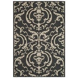 Safavieh Indoor/ Outdoor Bimini Black/ Sand Rug (2' x 3'7)