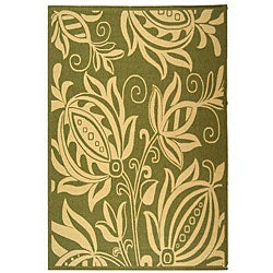 Safavieh Indoor/ Outdoor Andros Olive/ Natural Rug (5'3 x 7'7)