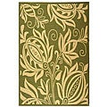 Safavieh Indoor/ Outdoor Andros Olive/ Natural Rug (6'7 x 9'6)