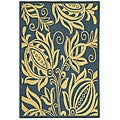 Safavieh Indoor/ Outdoor Andros Blue/ Natural Rug (4' x 5'7)