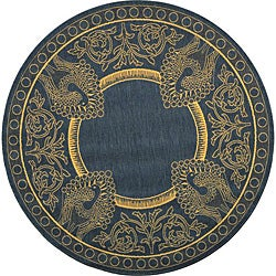 Safavieh Indoor/ Outdoor Abaco Blue/ Natural Rug (6'7 Round)