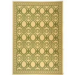 Safavieh Indoor/ Outdoor Tropics Natural/ Olive Rug (5'3 x 7'7)