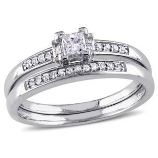 Miadora 14k White Gold 1/3ct TDW Princess Diamond Bridal Set (G-H, I1-I2)