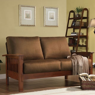 TRIBECCA HOME Hills Mission-Style Oak and Rust Loveseat