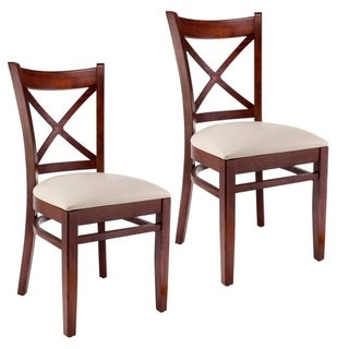 Walnut X-back Side Chairs (Set of 2)